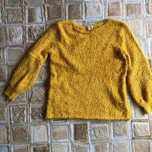 BB Dakota Fuzzy Mustard Yellow V neck Sweater